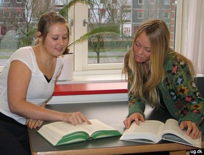 foto af hhx-elever i biblioteket