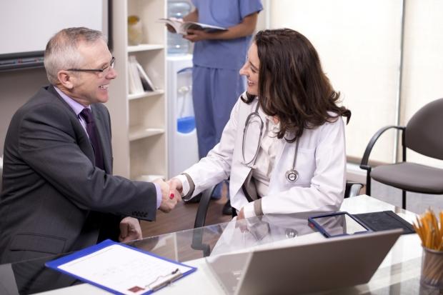lægemiddelkonsulent på kundebesøg