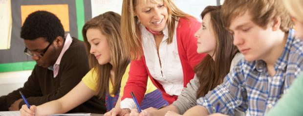 Elever i en gymnasieklasse