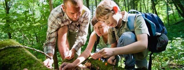 Friluftsvejleder i skoven med to elever