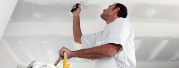 Bygningsmaler på stige, maler lofter