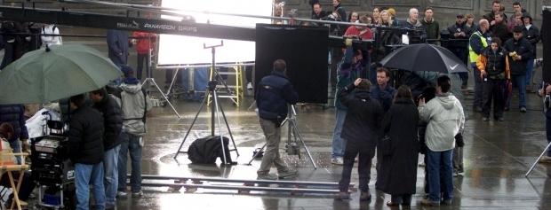 Foto af location med filmoptagelser i regnvejr