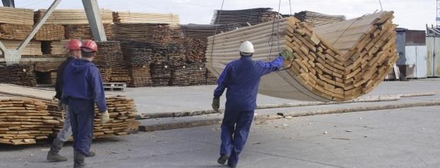 Havnearbejdere losser et parti tømmer