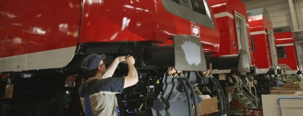 Togvogn repareres på værkstedet