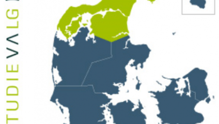 Danmarkskort med Nordjylland fremhævet