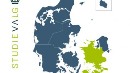 Danmarkskort med Studievalg Sjællands område